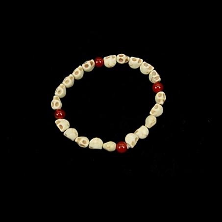 Armband Schädel ( rote Perlen)